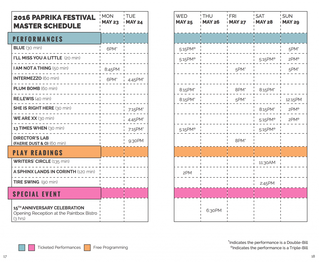 2016 Paprika Festival Schedule