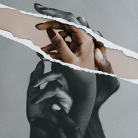 Black and white photo of several Black hands caressing each other. There is a rip through the image revealing the same image in colour.
